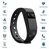NINETEC Smartfit F2HR Rot Fitness Tracker mit Pulsmesser Bluetooth 4.0 Sport Armband Schrittzähler Aktivitätsarmband Fitnessarmband Sportuhr mit Schlafanalyse Kalorienanalyse SMS Anrufe - 3