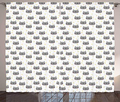 ABAKUHAUS Katze Rustikaler Gardine, Hipster Kitties Brille, Schlafzimmer Kräuselband Vorhang mit Schlaufen und Haken, 280 x 260 cm, Gelb Weiß Grau