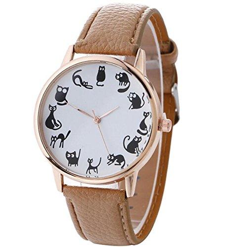 gperw - Reloj de Pulsera de Cuarzo con patrón de Gato para Mujer (Color Beige)