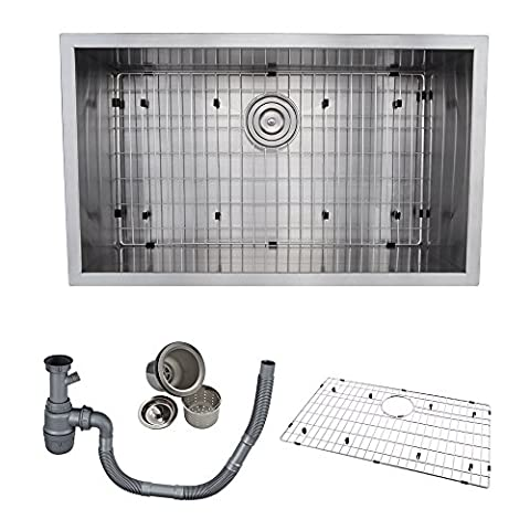 KES 30-Inch Kitchen Sink Stainless Steel Single Bowl Undermount Deep 16 Gauge Zero Radius with Drain Stainer Basket and Bottom Grid Protector 30 x 18 x 10 Inch European Contemporary Style,