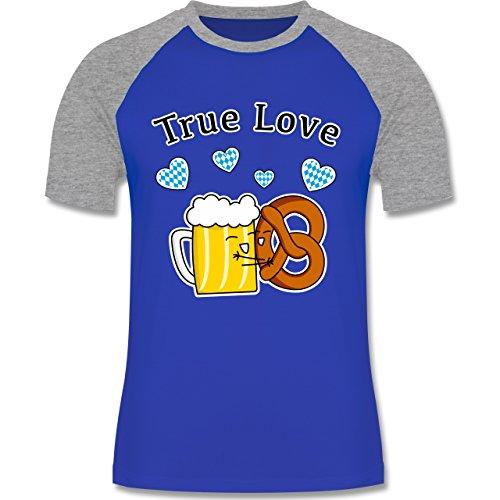 Oktoberfest Herren - True Love- Bier und Breze - zweifarbiges Baseballshirt für Männer Royalblau/Grau meliert