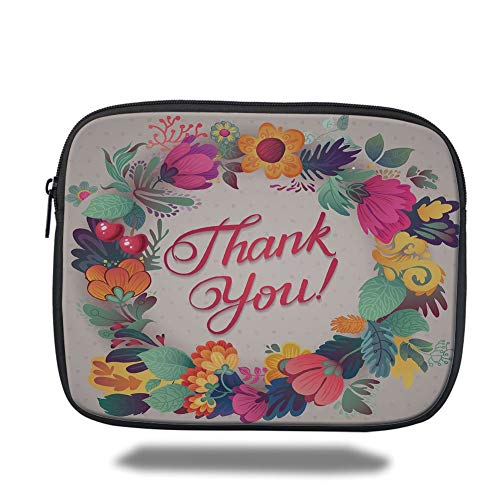 Laptop Sleeve Case,Flower Decor,Retro Style Thank You Note with Ceramic Made Like Flowers Cherries and Leaves Print,Multi,Tablet Bag for Ipad air 2/3/4/mini 9.7 inch -