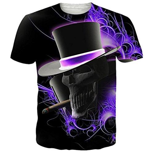 ❤️Tops Blouse Homme T-shirt, Amlaiworld Taille plus Tops Pull Réaliste Imprimé 3D T-shirt Manches Courtes Tee Blouse Hommer Boxer (L, Violet)
