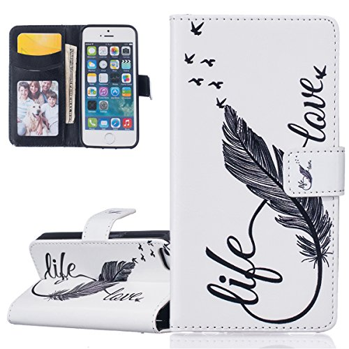 Hülle für iPhone SE, Tasche für iPhone 5 5S, Case Cover für iPhone 5 5S SE, ISAKEN Malerei Muster Folio PU Leder Flip Cover Brieftasche Geldbörse Wallet Case Ledertasche Handyhülle Tasche Case Schutzh Feder Liebe