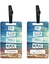 Personalized Metal Luggage Travel Baggage Tags From Nutcase - SET OF 2 TAGS - Eat Sleep Travel Repeat - Sea