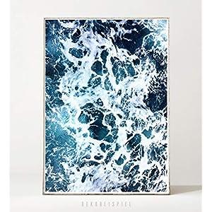 DIN A4 Kunstdruck Poster WAVES °4 -ungerahmt- Meer, Ozean, Strand, Wellen, Brandung, Küste, Landschaft, Luftaufnahme, Drohne