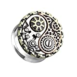 beyoutifulthings Ohr-Tunnel Steam Punk Yin Yang Silber Gold Roségold Ohr-Piercing Ohr-Schmuck Plug Double Flared Sattel-Verschluss 6mm