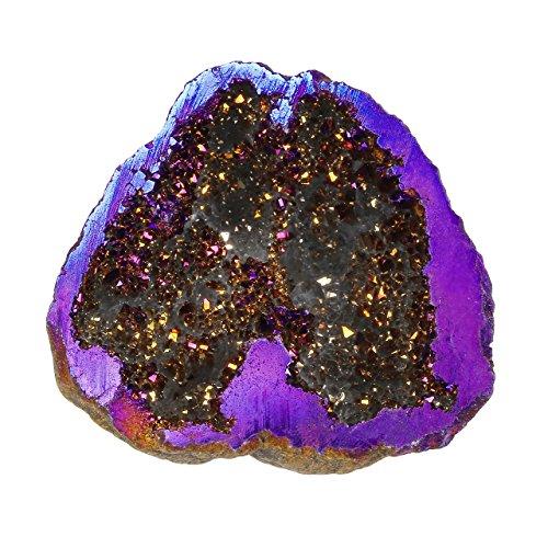 JOVIVI Pierre d'Energie Precieuse Irregulier Quartz Blanc Cluster Cristal Geode Druse Specimen Maison Decoration Bibelot + Coffret Cadeau - Violet