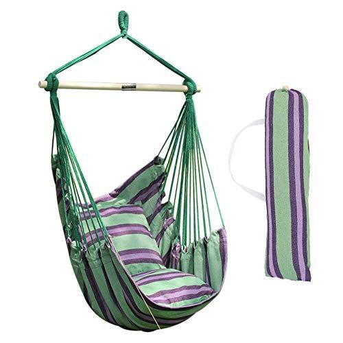 ANPI Hängematte Stuhl Seil Hängen Schaukel, Garten Hängende Seil Hängematte Stuhl Veranda Swing Sitz mit Zwei Kissen für Drinnen Draußen Yard Veranda Patio, Grüne & Lila Streifen -