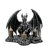Drachen Kerzenhalter Fantasy Gothic Dekofigur Halloween Drache Drachenfigur