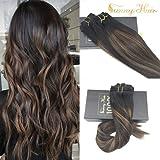 Sunny 7pcs/120g Clip de Extensiones Pelo Natural Balayage Marron Color Remy Hair Extension Clip in Cabello Humano 18'/45cm