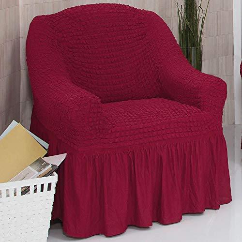 Mixibaby Sofabezug Sofahusse Sesselbezug Sitzbezug Sesselüberwurf Stretchhusse 1 er Sofa, Farbe:weinrot