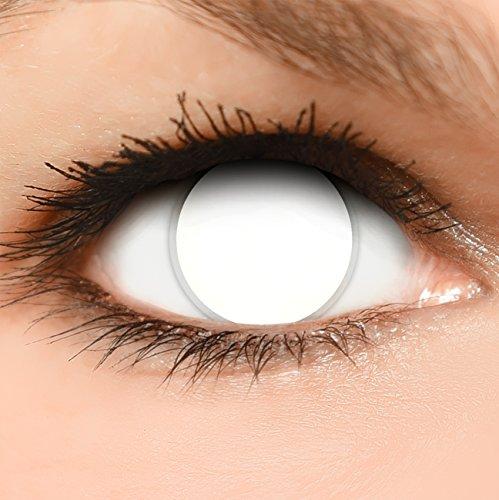 """FUNZERA Lentillas de Colores""""Blind White"""" + 10 ml solución + recipiente para lentes de contacto, sin dioptrías pack de 2 unidades - cómodas y perfectas para Halloween, Carnaval, sin corregir"""