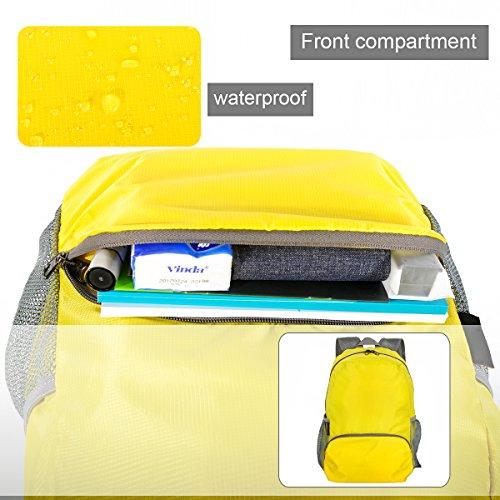 myoldsx tonpar leicht verstaubarer Rucksack, 20L Langlebig Reise Wandern Rucksack Tagesrucksack Wasserdicht, ULTRALIGHT und handlich faltbar Gelb