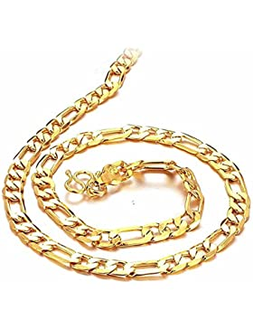 AnaZoz Modeschmuck Herren 18K Gold Vergoldet Halsketten Goldkette Gold für Männer, 51CM Länge