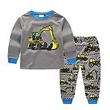 2 Stück Kinderkleidung Set Sonnena Baby Herbst Pullover Outfits Kleinkind Junge Mädchen Karikatur Bagger Tops + Hose Babyanzug Baumwolle Langarmshirt Sweatshirt