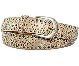 Gadzo Damen Gürtel beige strass gürtel beige bunt Vintage K2402 Nietengürtel beige 85 cm