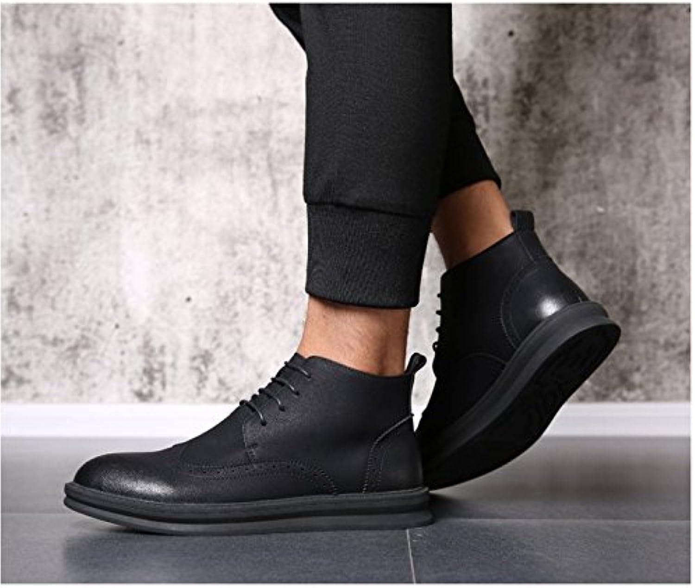 HL PYL   Die neuen Schuhe hohe Schuhe Stiefel All Match erhöhte Retro Single Stiefel.  38  Schwarz