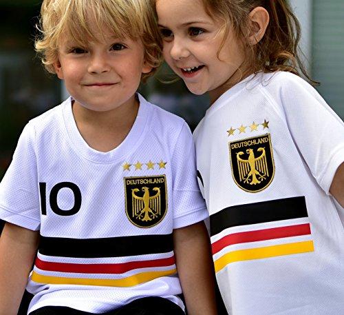 ElevenSports Deutschland Trikot mit GRATIS Wunschname + Nummer + Wappen Typ #D19 günstig im EM/WM Weiss - Geschenke für Kinder,Jungen,Baby. Fußball T-Shirt personalisiert