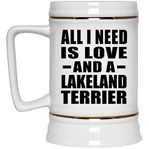 Lakeland Stein (All I Need Is Love And A Lakeland Terrier - Beer Stein Bierkrug Keramik Bierhumpen Bar Becher Kneipenkrug - Geschenk zum Geburtstag Jahrestag Muttertag Vatertag Ostern)