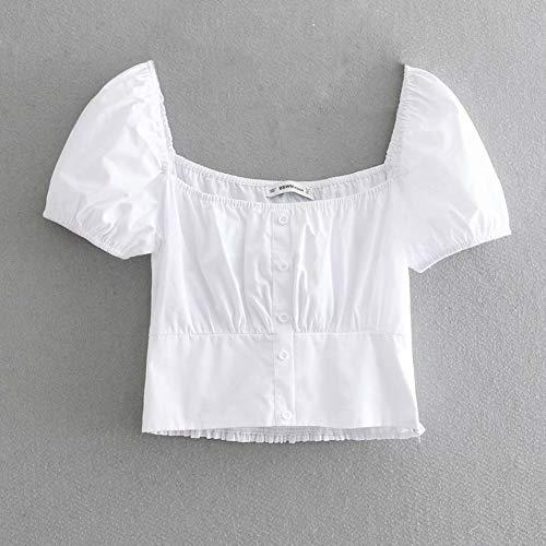 DAIDAINDX Women Fashion Poplin Short Shirts Solid Blouses and Tops Short Sleeve Square Collar Female Casual (Womens Poplin Shorts)