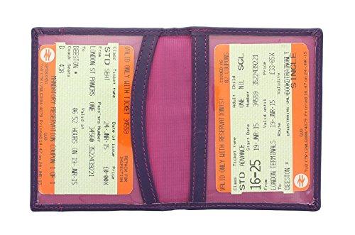 Mala Leder ODYSSEY Kartentasche Halter für Fahrkarten/Ausweis, weiches Leder 555_14 Lila