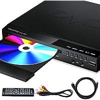 Gueray Reproductor DVD HDMI para Televisión Portátil Reproductor de DVD de Toda la región con resolución HD 1080P con USB 2 Mic Puerto y Control Remoto