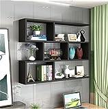 A J S Shelf ZTH Wohnzimmer-Schlafzimmer-Bücherregal-Lagerregal des Modernen Stils des Regals Hölzerner Wandrahmen Wand Hängende Kombination Regalwanddekoration-Designwandschrank A+ (Farbe : SCHWARZ)