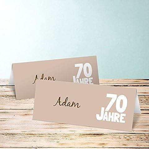 Tischkarten 60 Geburtstag, Stolze 70 50 Karten, Horizontale Klappkarte 100x38, Braun