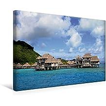 Premium Textil-Leinwand 45 cm x 30 cm quer, Luxus-Überwaserbungalows vor Bora Bora   Wandbild, Bild auf Keilrahmen, Fertigbild auf echter Leinwand, ... durch den Südpazifik. (CALVENDO Orte)