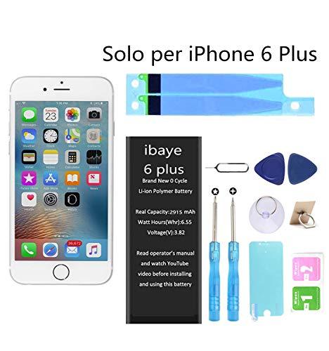 Ibaye Batteria per iPhone 6 Plus 2915mAh Alta Capacità, batteria interna Ricambio ricaricabile Sostituzione in Li-ion con kit Smontaggio Cacciavite Strumenti di Riparazione