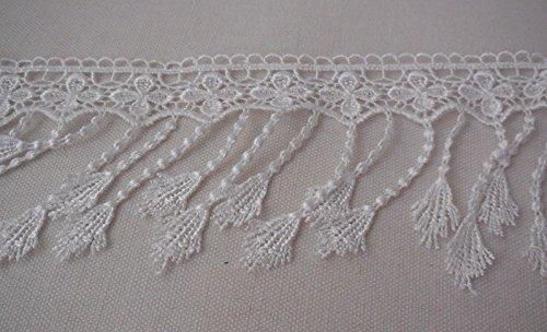 Cremefarbene Zierborte aus Spitze, für Kleider, mit Fransen, Baumwoll-Spitzensaum-pro 90cm White Lace Fringe
