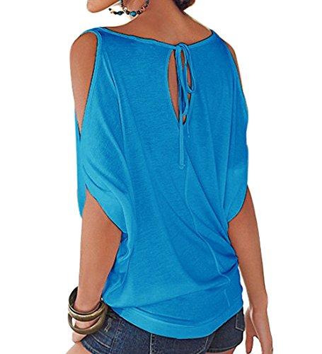 T Shirt Spalle Scoperte Bluse e Camicie Estive Donna Camicetta Manica Corta Casual Top Scollo a Barca Tinta Unita – Landove Blu