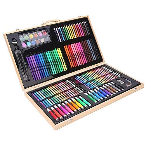 Art Set 180 Teile Art Kit Zubehör für Aquarellzeichnung Skizzieren Färbung Geschenke für Kinder (Color : Natural, Size : Free Size) ()