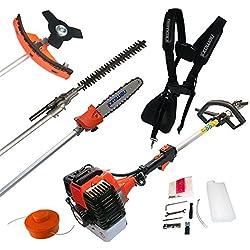 MT22 / MT52 / MT62 outils de jardins d'essence de Nemaxx - multitool avec moteur puissant de 52ccm - accessoires pour coupe-herbe, débrousailleuse, taille-haie, scie à chaîne et scie circulaire, Modèle:4-en-1 (MT52)