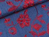 Quality Textiles Leichter Jeansstoff Chambray Gestickte