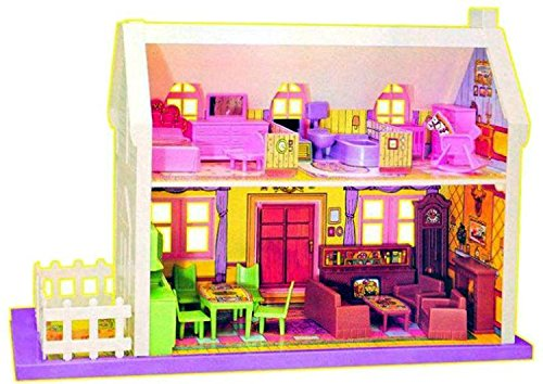 Generic Kid's Plastic Mamma Mia Deluxe Doll House, Medium Size - Set of 34 Pcs (GGTO105, Clear)