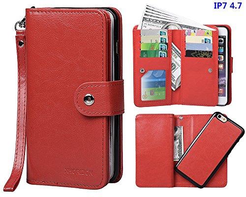 """xhorizon TM [Aktualisiert] FM8 2 in 1 führend DesignTop Notch Bifold Magnetisch Car MountPhone Halter Kompatibel Folio LederBrieftasche Hülle für iPhone 7 [4.7""""] mit 9H Ausgeglichenes GlasFilm Rot"""