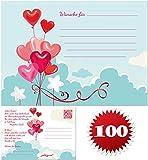 galleryy.net 100 Ballonflugkarten zur Hochzeit Gelocht, Portofrei Möglich, Flugkarten für Hochzeitsballons im Set Zum Hochzeitsspiel im Ballonflugkartenset - Hochzeit Herzballons
