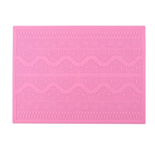 BESTOMZ Molde Silicona Fondant Flor de Encaje para hacer tarta pastel (rosa)