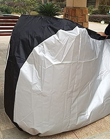 DIKETE® Bicycle Cover with Buckle Rain Proof Dustproof Sun UV Protective Heavy Duty Bike Seat Covering Foldable Breathable Extra Large Outdoor cover XL 200x70x110cm [Polyester + PU] Black+Silver
