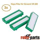 Robo-Parts 3 Stück HEPA Allergie Filter für Vorwerk Kobold VR200