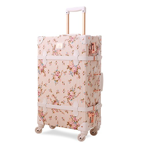 UNITRAVEL Koffer Vintage Floral 55 Zentimeter 31 Liter 4 Räder Champagner Nummernschloss (Gold-koffer Vintage)