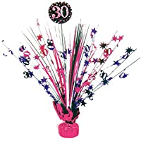 Tischdekoration, Tischkaskade Zum 30 Geburtstag; Kaskade 46cm Schwarz Pink  Silber Glitter Dekoration Kaskade 30