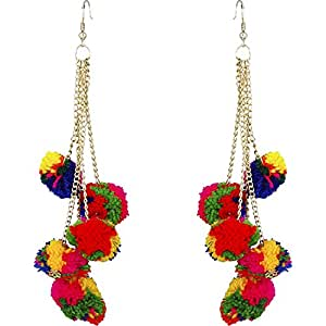 Crunchy Fashion Multicolor Metal Pom Pom Dangle & Drop Earrings For Women