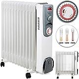 monzana Radiador eléctrico de aceite | 13 elementos | 3 niveles de potencia | 1000W 1400W 2500W | Temporizador 24 horas | Interruptor encendido | Apagado automático | Regulación de temperatura