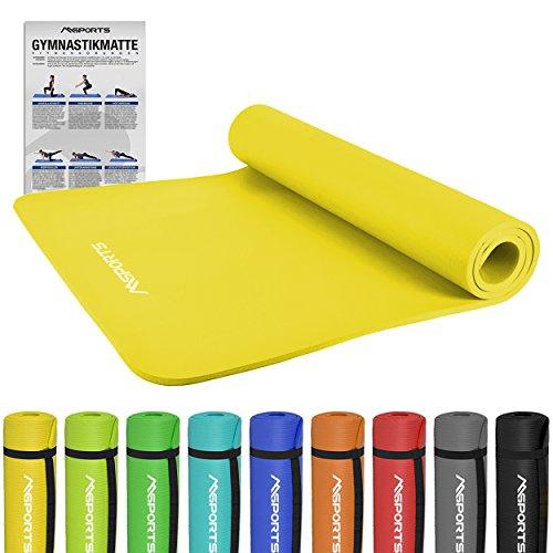 MSPORTS Gymnastikmatte Premium | inkl. Übungsposter | Hautfreundliche - Phthalatfreie Fitnessmatte - Zitronengelb - 190 x 100 x 1,5 cm - sehr weich - extra dick | Yogamatte