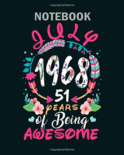 Notebook: queens vintage july 1968 birthday - 50 sheets, 100 pages - 8 x 10 inches