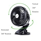 Clip on Fan, Battery Operated Desk Table Fan Rechargeable, Portable Mini USB Fan for Baby Stroller Pram Office Camping Motorhome Lorry(W/ 2600mA 18650 Battery)