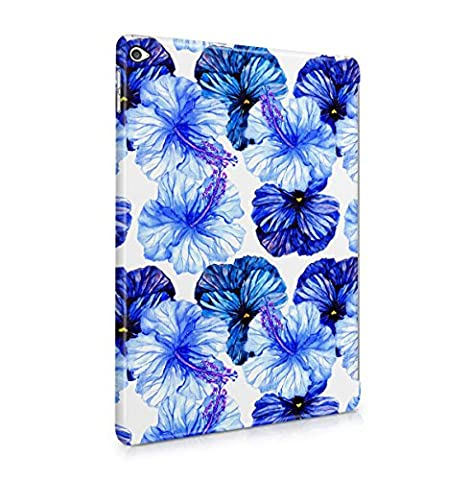 Flower Deep Blue Pansy & Sky Blue Hibiscus Blossom Pattern Apple iPad Air 2 Snap-On Hard Plastic Protective Shell Case Cover